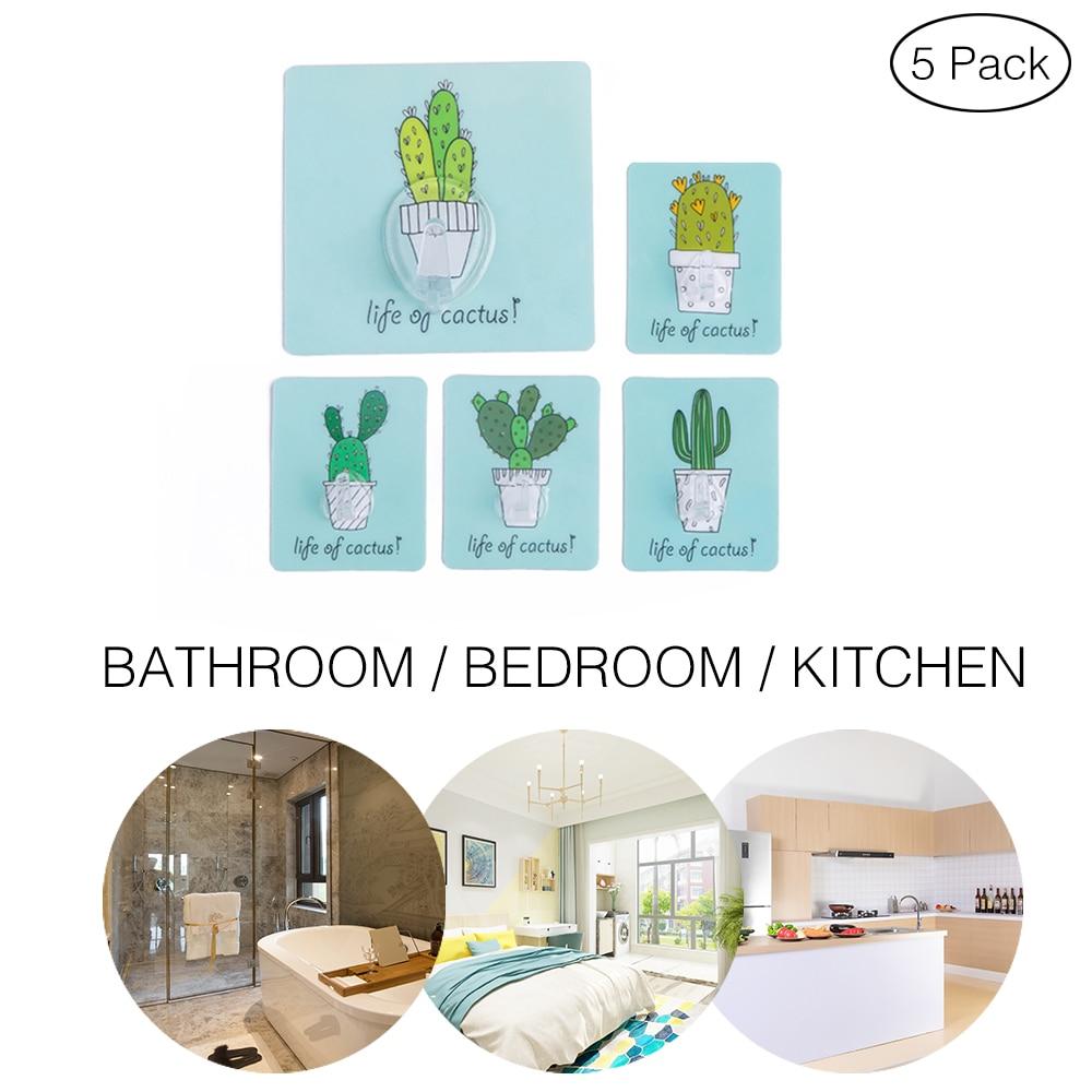 5Pcs Strong Wall Hanger Self Adhesive Door Waterproof Hooks For Hanging Kitchen Bathroom Accessories Cactus Pattern