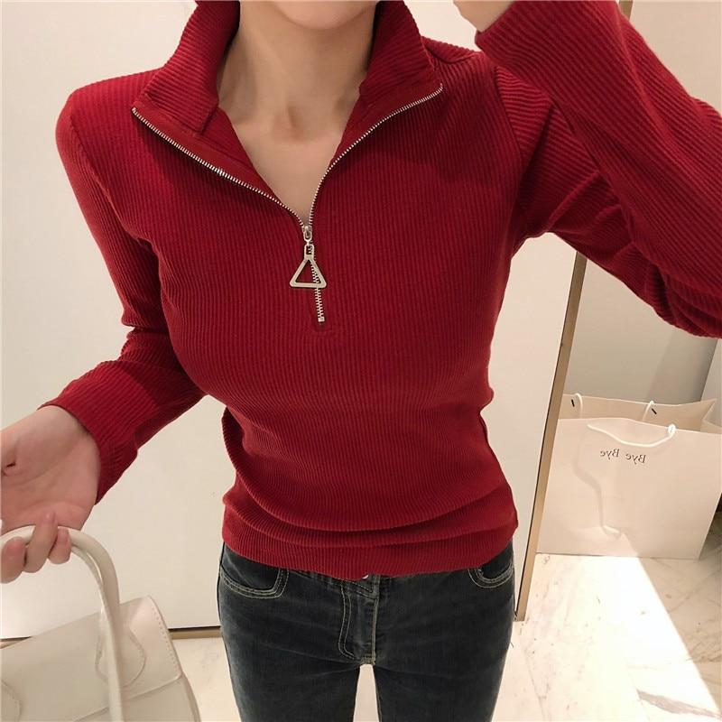 Gkfnmt Women Sweater Pullovers Knitted Zipper Korean-Style White High-Elastic Winter Fashion