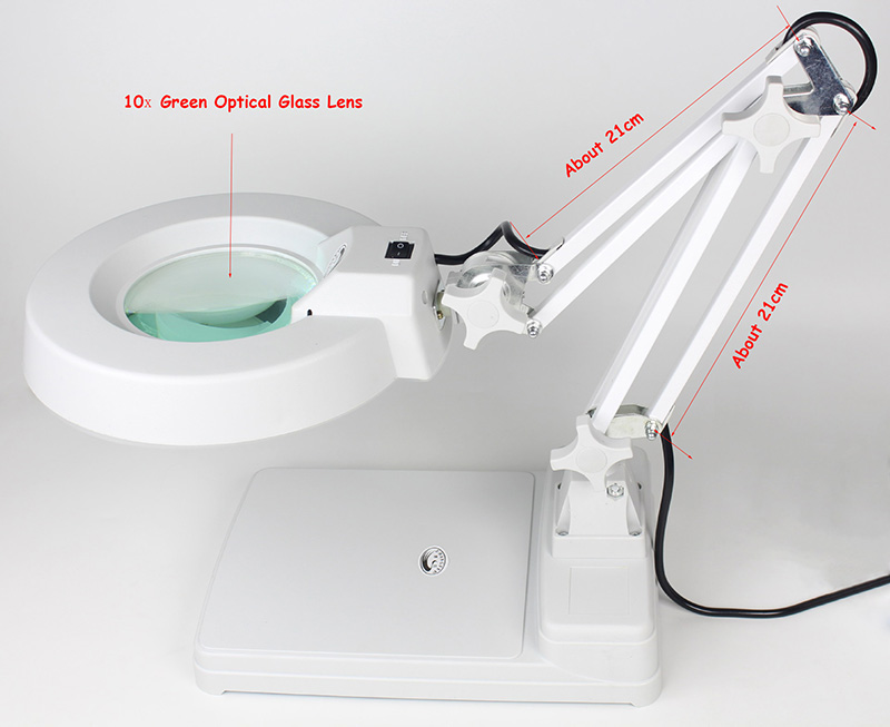 Magnification 20x Table Top Stand Optical Glass Repairing Magnifying Glass Lamp PCB Precision Parts Inspection Lighted Magnifier