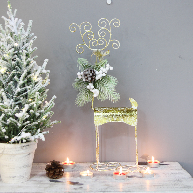 Ручная работа, Золотой Рождественский северный олень, украшение для дома, Рождественский Декор, вечерние украшения для праздничного салона - 3