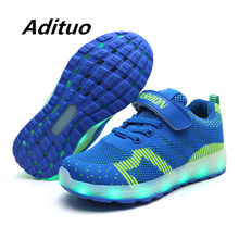 Size 25-37 Kids Led USB Recharge Glowing Shoes