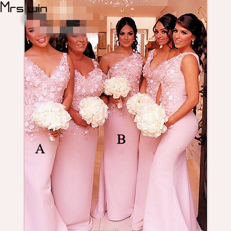 Mrs Win Bridesmaid Dresses Plus Size Women Wedding Party Dress Mermaid Elegant V-neck Pink Long Vestido Madrinha 2020 HR075