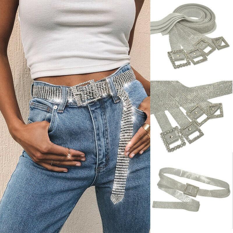 2020 New Women Fashion Shiny Belt Waist Chain Crystal Diamond Alloy Waistband Full Rhinestone Luxury Wide Party Belt