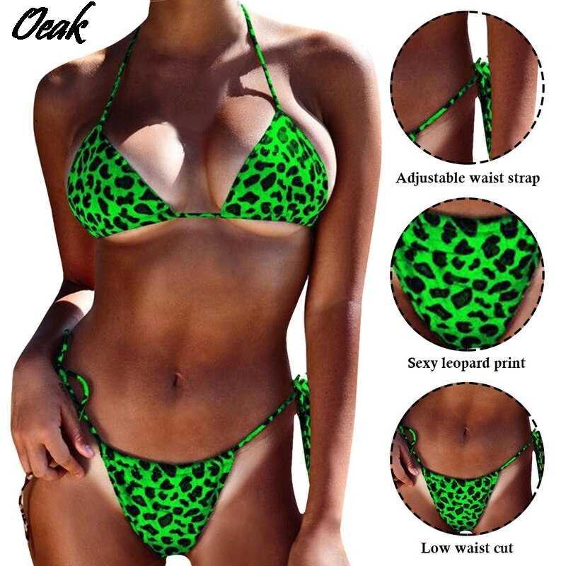 2020 Bikini Sexy Leopard Baju Renang Wanita Baju Renang Mandi Bikini Pantai Baju Renang Monokini Biquinis Maillot De Bain Ukuran 5XL
