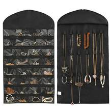 32 Pockets 18 Hook Loop & Hanger Hanging Jewelry Organizer Earring Display Pouch Hanging Vertical Jewelry Flat Storage Bag(China)