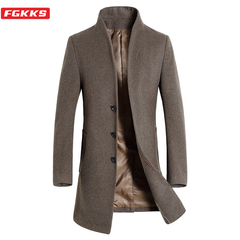 FGKKS Winter Brand Men Wool Blend Coats Male Stand Collar Thick Long Section Trench Coat Men's Slim Trend Wild Wool Overcoat