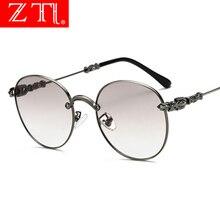 ZT Gothic Vintage Round Glasses Metal Frame Men Retro Gradient Sunglasses Women Uv400