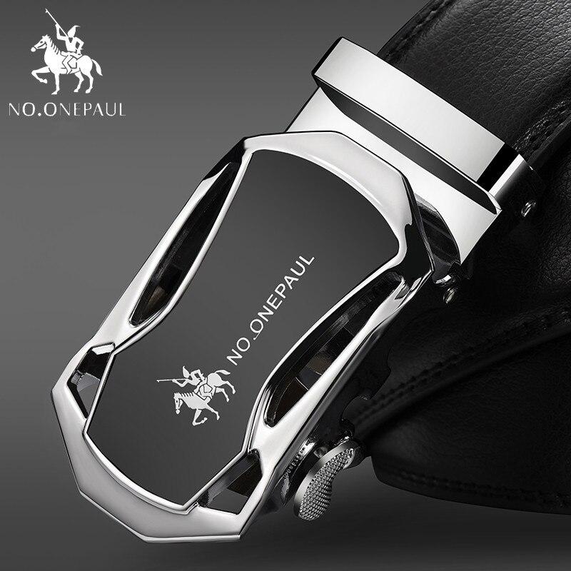 NO.ONEPAUL Men's Belt Cow Leather Belts For Men Belts Male Alloy   Leather Belts Brand Fashion Automatic Buckle Black Genuine