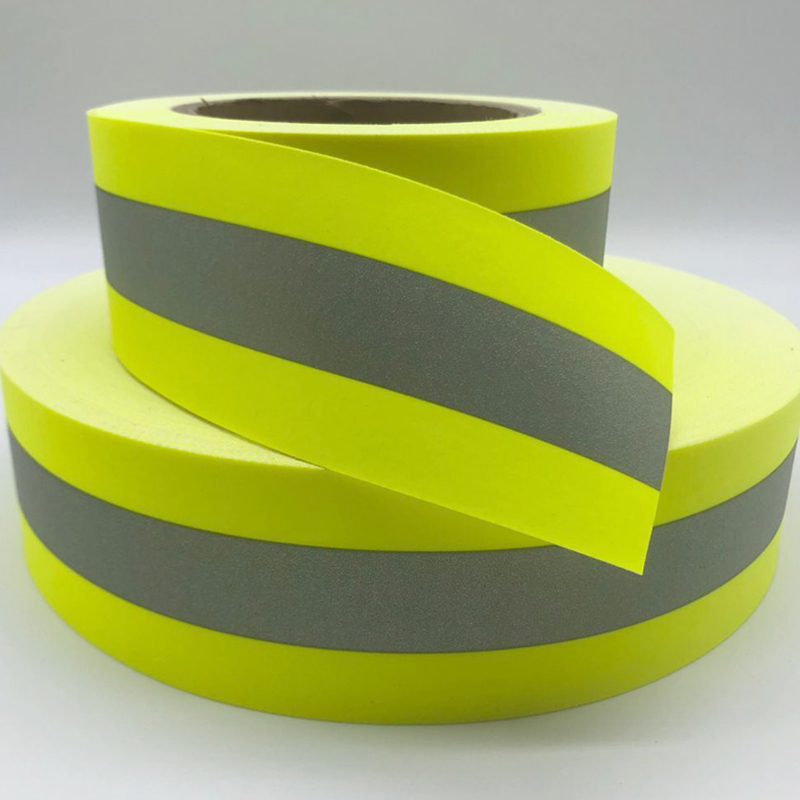Fluorescent Yellow Flame Fire retardant Reflective Fabric Warning Tape  Sew On  Clothes