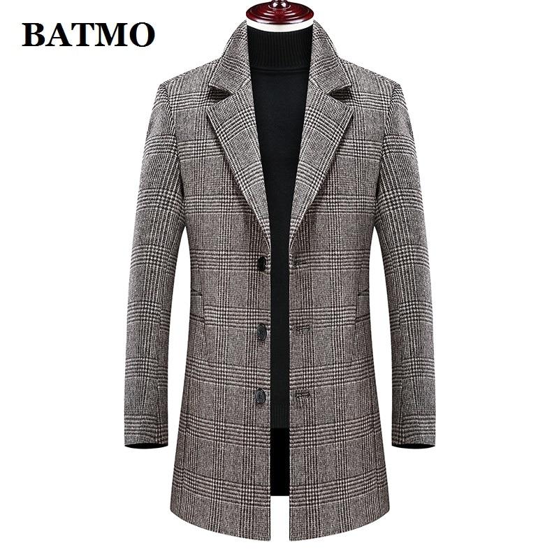 Batmo 2020 new arrival winter wool thicked plaid casual trench coat men,men's winter warm coat,winter jackets men 898