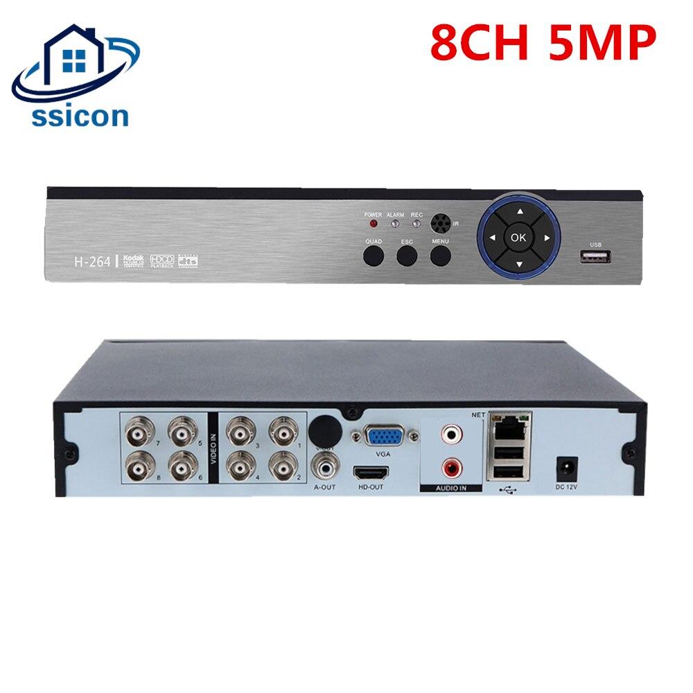 SSICON 8CH 5MP AHD DVR 5 in 1 Security H.265 Hybrid NVR CCTV Video Recorder for XVI AHD TVI CVI Analog IP 5MP Camera