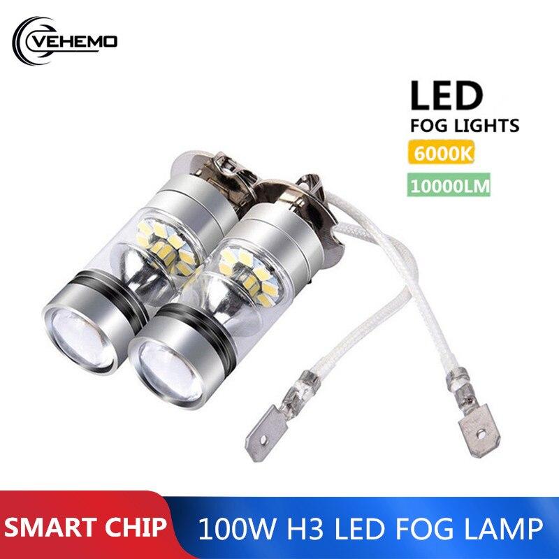 Vehemo 2 pçs 100 w h3 conduziu a luz de nevoeiro lâmpada condução 12/24 v nevoeiro farol 10000lm branco 6000 k farol do carro