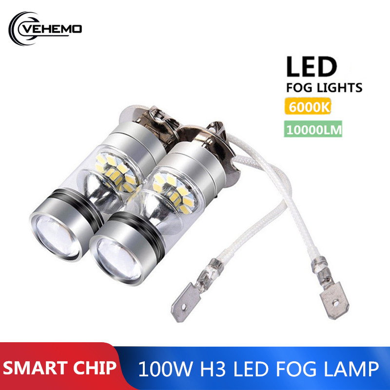 Vehemo 2Pcs 100W H3  LED Fog Light Driving Bulb 12/24V  Fog Lamp Headlamp 10000LM White 6000K Car Headlight