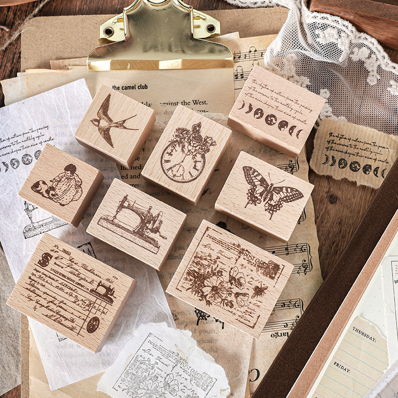 Postage and Stamps Decorative Mounted Rubber Stamp Set for DIY Craft Letters Diary and Craft Scrapbooking 4 Pieces Vintage Wooden Rubber Stamps