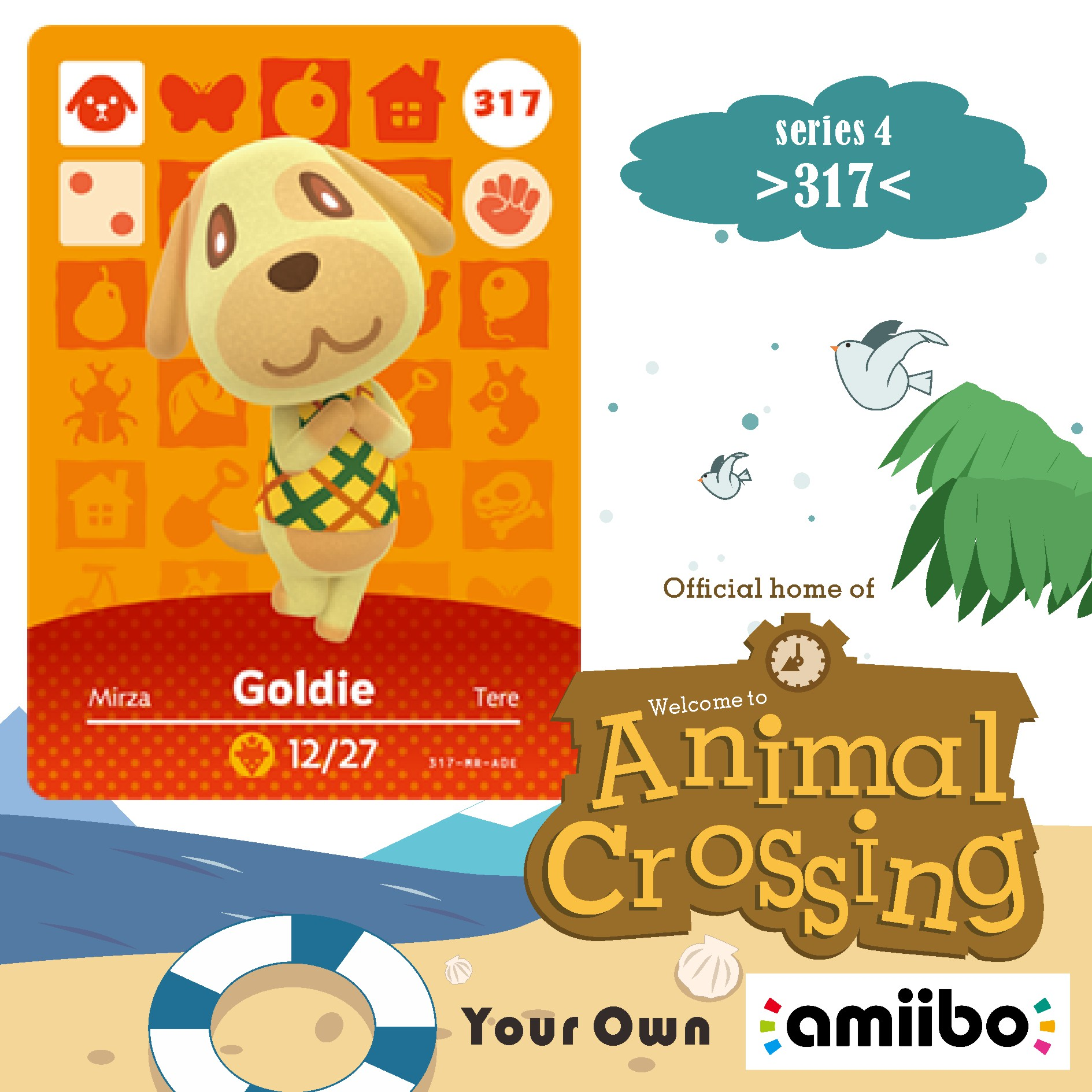 Amiibo Animal Crossing 317 Animal Crossing Amiibo Card Goldie Amiibo Goldie Cross Game Villager Card Series 4 317  Goldie