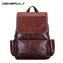 Vintage Genuine Leather Backpack Women Real Leather Head First Layer Cowhide Mochila Laptop Backpack For Girls Hiking Backpacks vintage casual designer genuine first layer cowhide hand painting girls small red backpack ladies women leather travel backpack