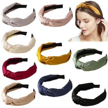Women Knotted Top Headband Bow Cross Hair Band Girls Hair Hoop Headwear Hairband Elegant Hair Accessories for Lady 1