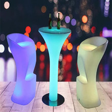 Светодиодный светящийся коктейльный столик IP54 Водонепроницаемый Пластиковый барный столик D60* H110cm Клубная мебель для дискотеки принадлежности коктейльный столик