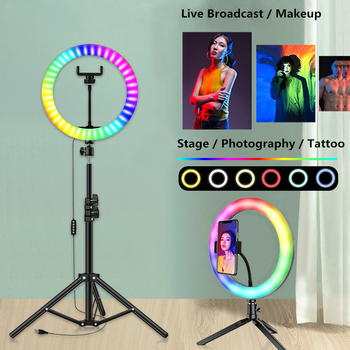 Professional Photo Studio 33cm RGB Selfie Ringlight Makeup LED Ring Light with Tripod Ring Lamp for Phone Youtube VK Video Live