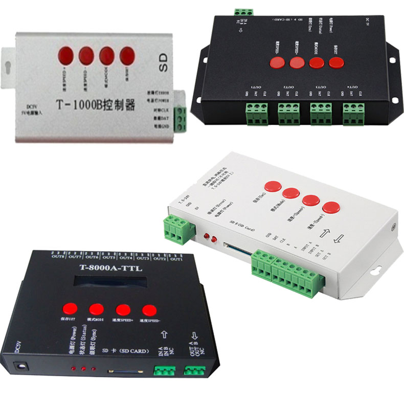 LED Pixel Controller T1000B T1000S T4000AC T8000 TTL Input 220V  SD Card 8192Pixel Controller For WS2801 WS2811 LPD8806 DC5V