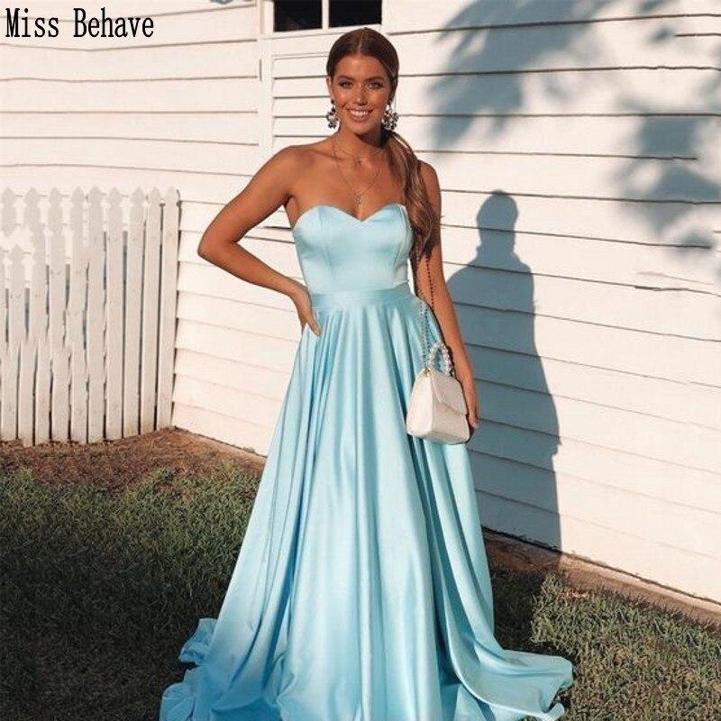 DD JYOY Simple Style Sky Blue Evening Dress Long Sweetheart Neck Elegant Long Formal Dress Evening Gown Small Train Long Prom
