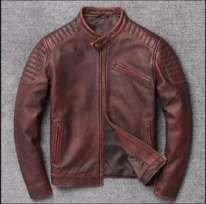 Image 3 - Free shipping,Brand cowhide clothing,mens genuine leather clothes,fashion vintage motor biker jacket.cool warm coat,quality