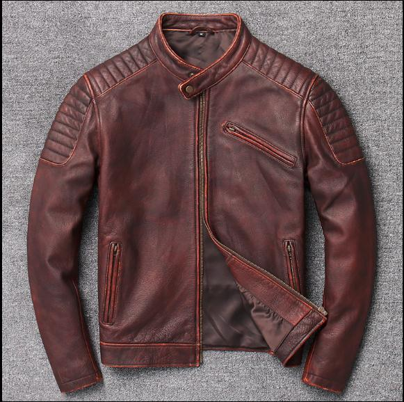 Image 4 - Free shipping,Brand new cowhide clothing,man's 100% genuine leather Jackets,fashion vintage motor biker jacket.cool warm coat-in Genuine Leather Coats from Men's Clothing