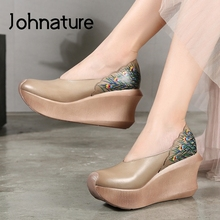 Women Shoes Toe-Pumps Retro Platform Genuine-Leather Johnature Wedges High-Heels Round