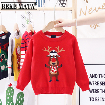 Christmas Sweater Boys 2020 Winter Elk Print Knitted Kids Boy Clothes Pullover Long Sleeve Double Cotton Warm Children Sweaters kids children sweaters winter 2020 casual turtleneck knitted sweaters for girls warm boy sweaters cotton girls cardigan clothes