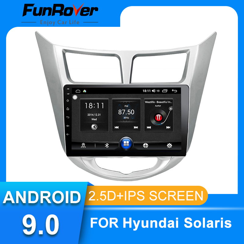 Funrover <font><b>2</b></font>.5D IPS Für Hyundai Solaris 1 <font><b>2010</b></font>-2016 android 9.0 Auto Radio Multimedia Player autoradio Navigation GPS FM keine dvd image