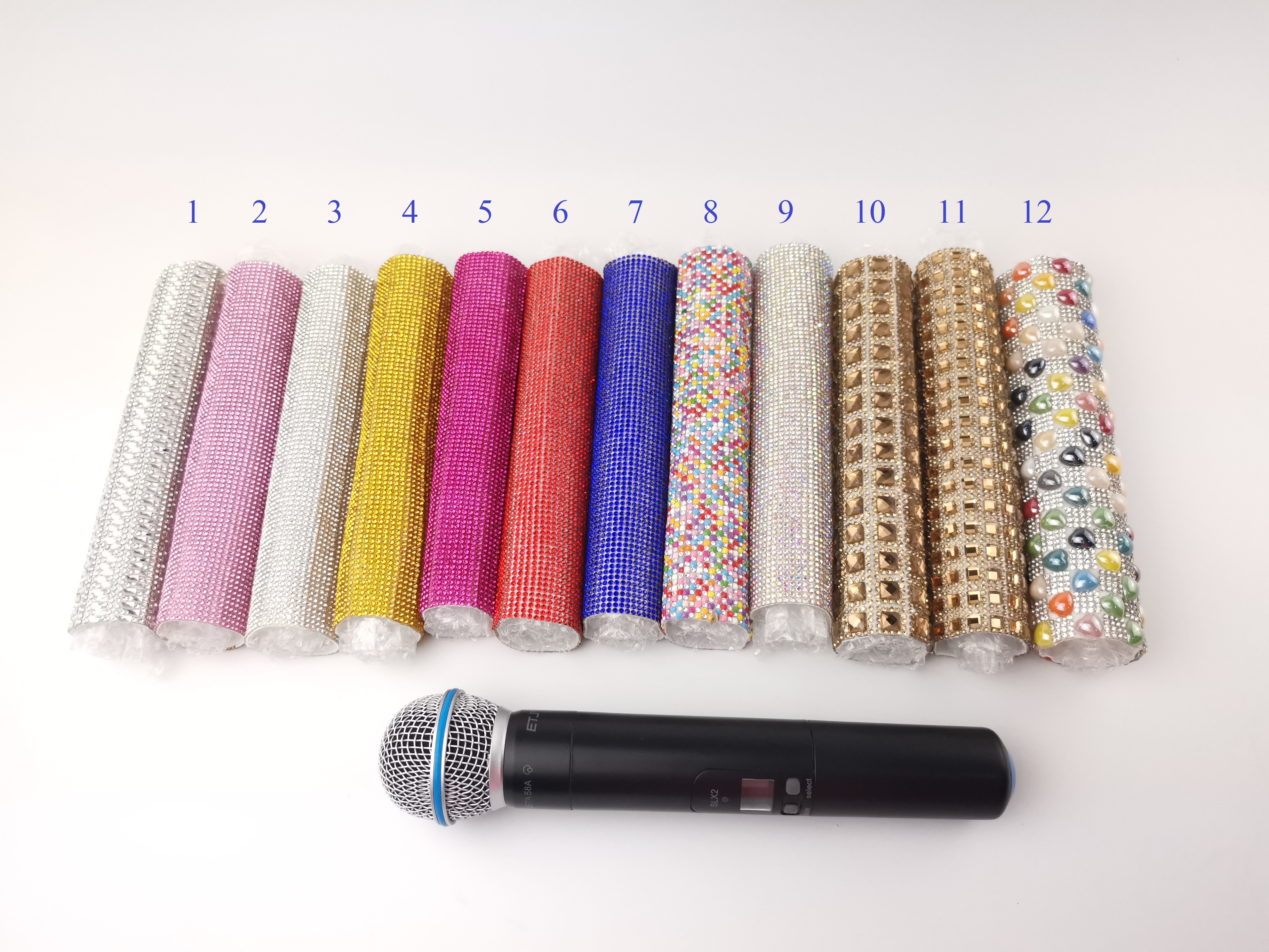 Bling Bling Sleeve Cover Microphone Crystal Skin Handheld Shell Flash Frame Colorful For Shows Stage