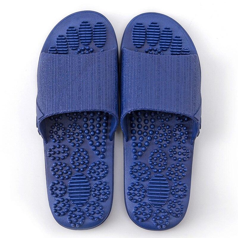 Нескользящие женские массажные тапочки; летние модные домашние уличные Вьетнамки; женская обувь; пляжные шлепанцы для ванной; мужские шлепанцы - Цвет: Dark blue