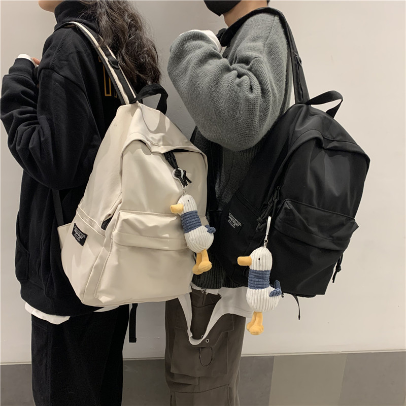 2020 New Men's Backpack Women Solid Color High School Student Bag Men Large Capacity Travel Backpack, Waterproof Black Backpack