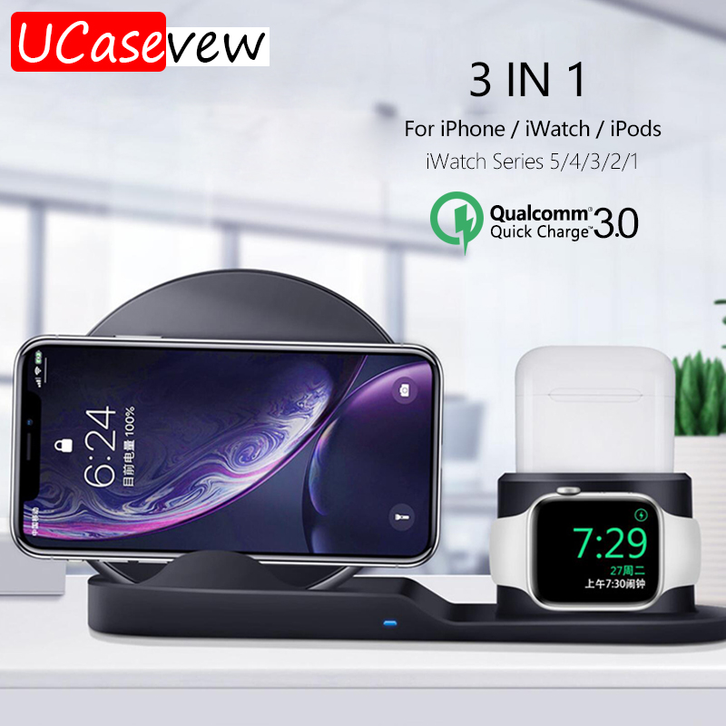 QC <font><b>3</b></font>,0 Quick <font><b>Charge</b></font> Mit 3in1 Wireless Magnetische Ladung Stand <font><b>Dock</b></font> für <font><b>iPhone</b></font> Airpods iWatch 5 4 <font><b>3</b></font> 2 <font><b>1</b></font> drahtlose Lade Adapter image