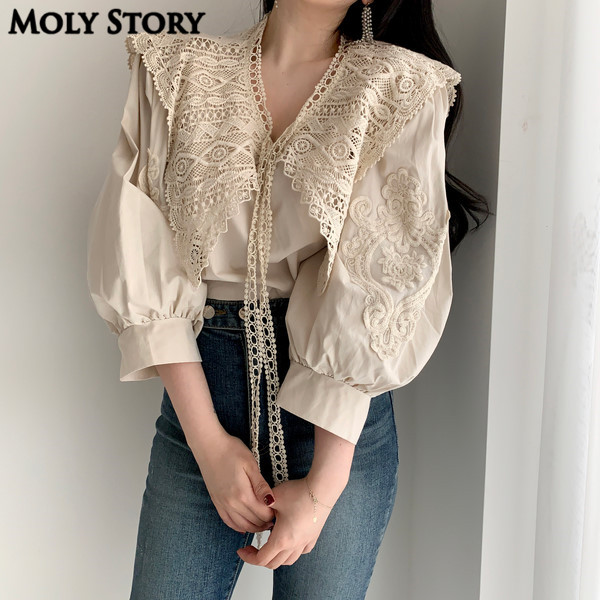 New Sweet Puffy Sleeve Top Lace Shirts Turn Down Neck Japanese Kawaii Tops Ladies Shirt