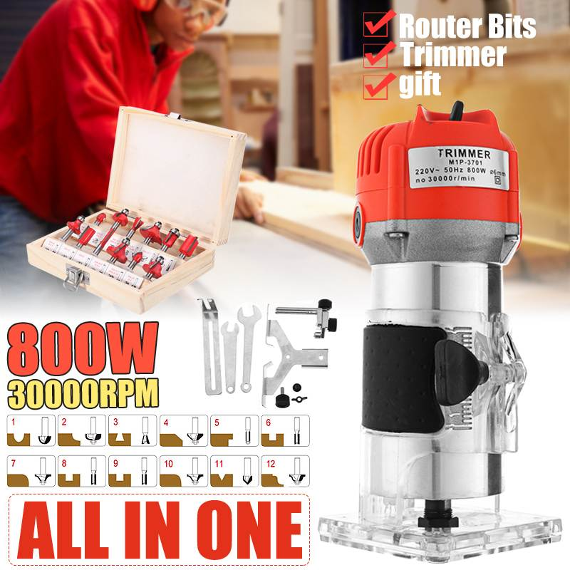 800W 30000RPM Woodworking Electric Trimmer Wood Laminate Router 6.35mm Small Copper Motor Carving Machine Woodworking DIY Tools