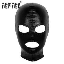 Унисекс Для мужчин Для женщин Для мужчин Косплэй латексная маска для лица Блестящий металлический открытый глаз и рта головные уборы анфас ...