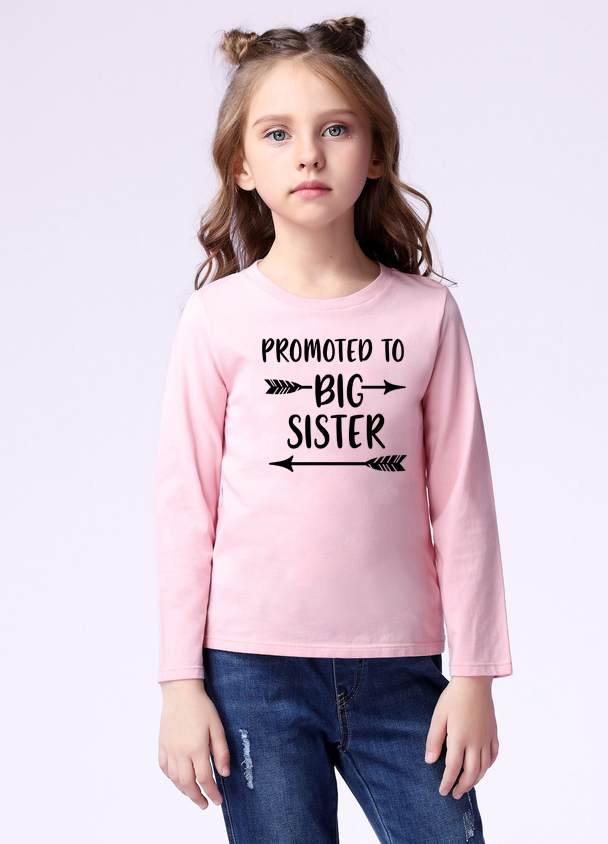 CHILDRENS PERSONALISED T SHIRT* *promoted to big sister in purple and pink