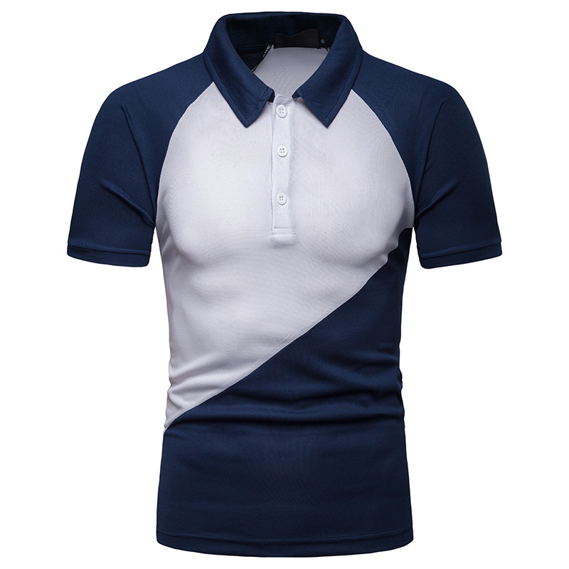 BINHIIRO Men's   POLO   shirt Blended Cotton Breathable Splicing lapel Tops Business Casual sports Short-sleeved   POLO   shirt Men D51