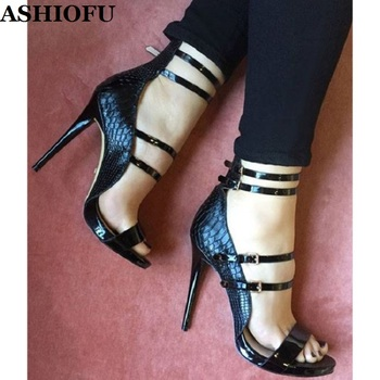 ASHIOFU Handmade Women Stiletto Sandals Buckle Ankle Strap Party Prom Summer Shoes Big-size Evening Fashion Sandals Shoes