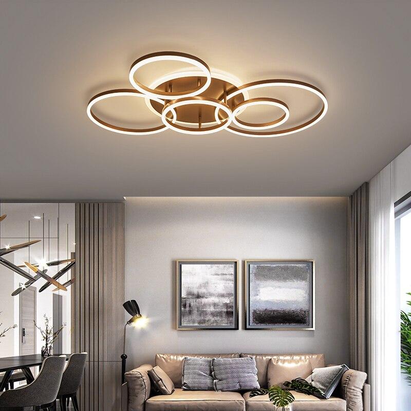 Modern Led Circle Rings Ceiling Lights For living Room Bedroom Study Room Ceiling Lamp White Brown Black Gold Color 90-260V