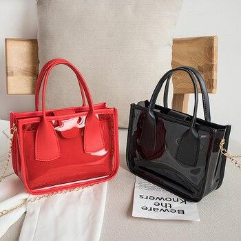 2020 Fashion Trend Women Ladies Solid Color Crossbody Handbag PVC PU Leather Zipper Composite Bags Chain Shoulder Strap Purse