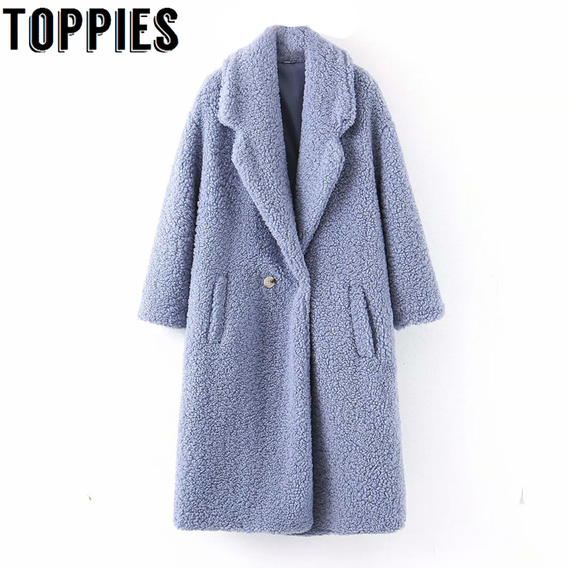 Winter Fleece Coat Women Button Cashmere Coat Oversize Loose Jacket Soft Warm Outwear
