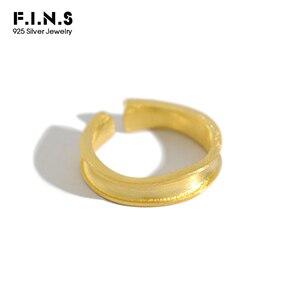 Женское двухцветное матовое кольцо F.I.N.S, корейское ювелирное изделие из стерлингового серебра 925 пробы с матовым начесом, ювелирное изделие