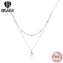 Heart Necklaces BISAER 925 Sterling Silver Valentine's Day Gift Love Heart Wrap-Around Necklace Chain for Jewelry Making EFN168