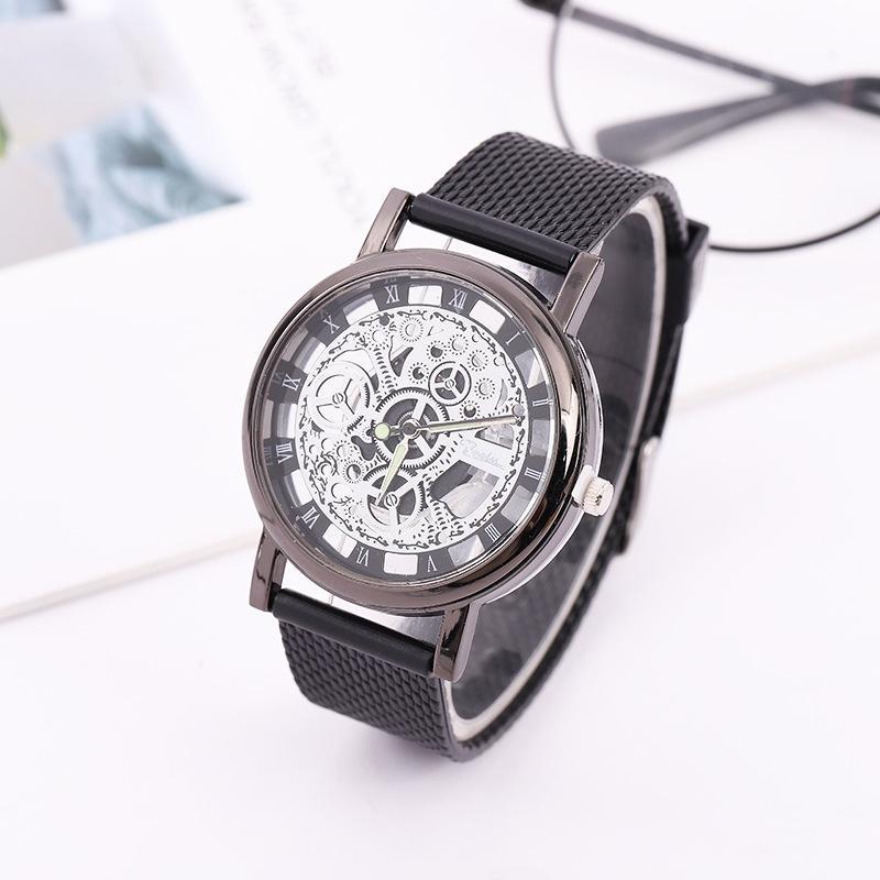 Fashion Men Quartz Watch Imitation Mechanical Watches Silica Gel Mesh Belt Casual Watch Male Wristwatch