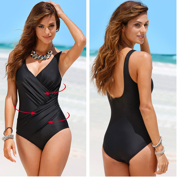 2020 New One Piece Swimsuit Plus Size Swimwear Women Classic Vintage Bathing Suits Beachwear Backless Slim Swim Wear M~2XL 3
