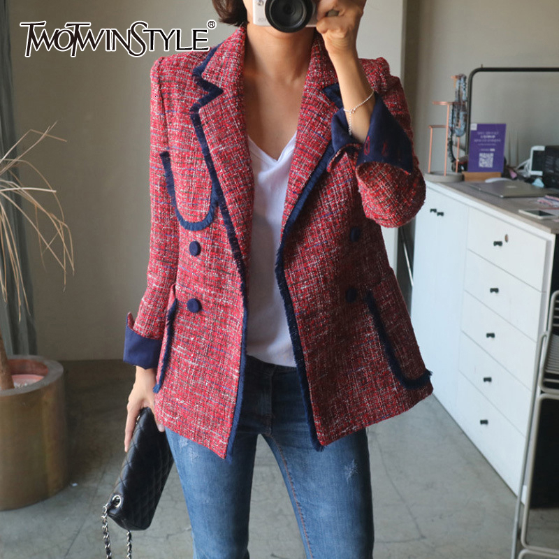 TWOTWINSTYLE Elegant Women's Blazer Notched Long Sleeve Pocket Button Slim Female Suit 2019 Autumn Large Size Fashion New