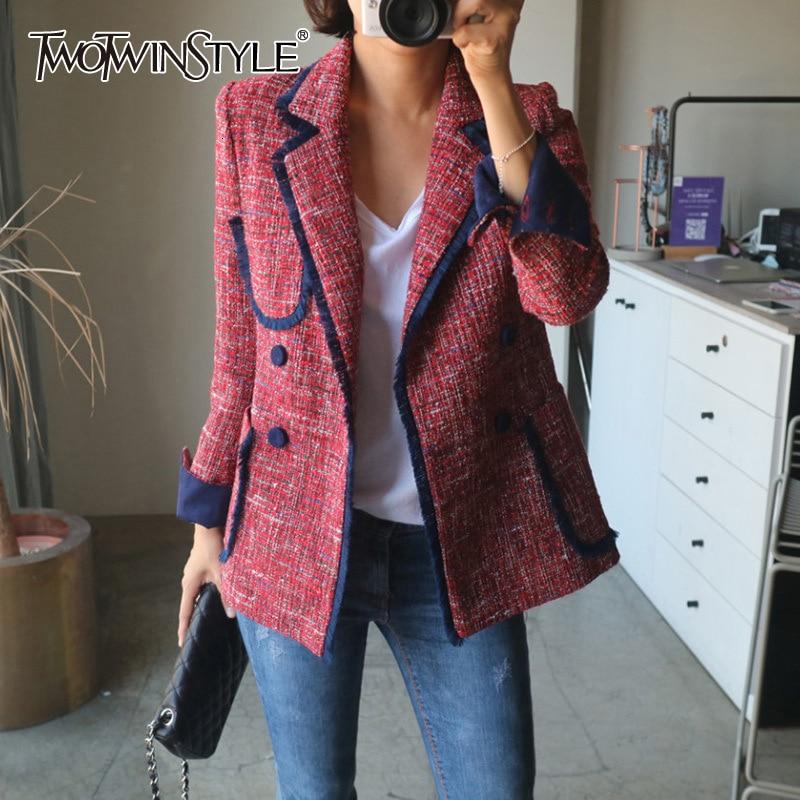 TWOTWINSTYLE Elegant Women's Blazer Notched Long Sleeve Pocket Button Slim Female Suit 2020 Autumn Large Size Fashion New