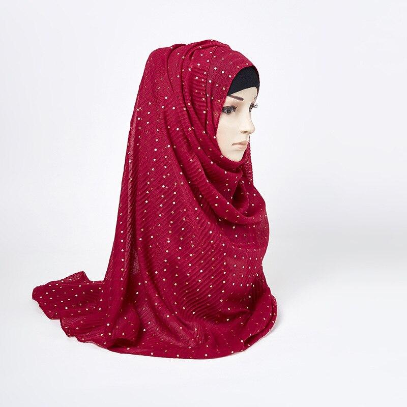 85*180CM Muslim Hijab Womens Chiffon Sequins Hijab Underscarf Head Islamic Cover Bonnet Hat Cap Scarf 180cm Length Chiffon Scarf